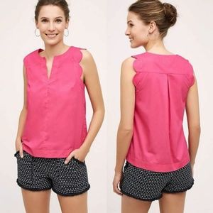 Maeve Anthropologie Scallop Tank Blouse 10 Pink